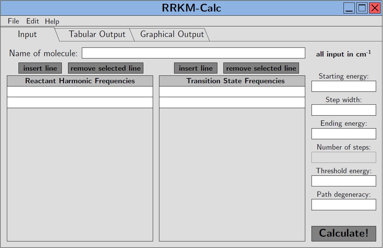 Startdarstellung von RRKM-Calc